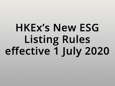 HKEx New ESG Listing Rules effective 1 July 2020