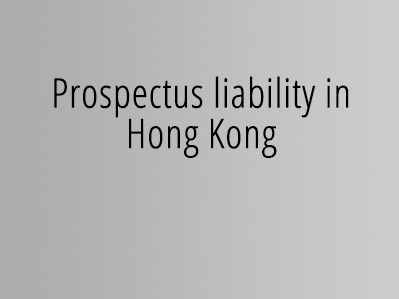 Prospectus liability in Hong Kong